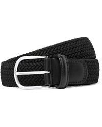 Andersons - 3.5cm Black Leather-trimmed Woven Elastic Belt - Lyst
