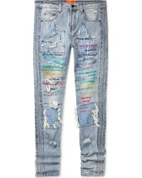 EV BRAVADO Skinny-fit Embellished Embroidered Distressed Denim Jeans - Blue