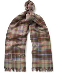 Acne Studios - Ontario Fringed Embroidered Checked Wool Scarf - Lyst