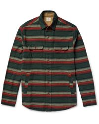 Faherty Brand - Suede Elbow-patch Striped Cotton-flannel Shirt - Lyst