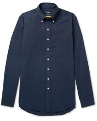 Drake's - Easyday Slim-fit Button-down Collar Herringbone Cotton Shirt - Lyst