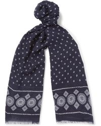 Drake's - Printed Modal, Cashmere And Silk-blend Scarf - Lyst