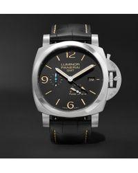Officine Panerai - Luminor 1950 3 Days Acciaio 44mm Stainless Steel And Alligator Watch - Lyst