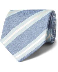 Charvet - 7.5cm Striped Silk And Linen-blend Tie - Lyst