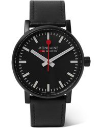 Mondaine - Ev02 Brushed Stainless Steel And Leather Watch - Lyst