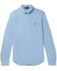 Polo Ralph Lauren - Slim-fit Button-down Collar Mélange Cotton-piqué Shirt - Lyst