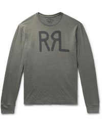 RRL - Logo-print Mélange Cotton-jersey T-shirt - Lyst