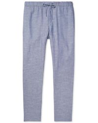 Frescobol Carioca - Mélange Linen And Cotton-blend Drawstring Trousers - Lyst