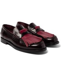 Burberry - Polished-leather Kiltie Loafers - Lyst