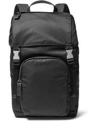e07e41fc8888 Lyst - Prada Robot Saffiano Leather-trimmed Nylon Backpack in Black ...