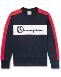 Todd Snyder - Colour-block Embroidered Loopback Cotton-jersey Sweatshirt - Lyst