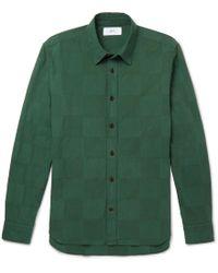 MR P. - Slim-fit Garment-dyed Patchwork Cotton Shirt - Lyst