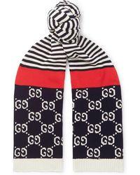 Gucci - Logo-intarsia Striped Cotton Scarf - Lyst
