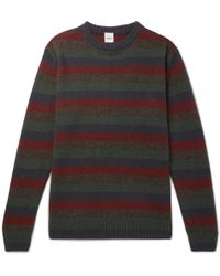 Aspesi - Slim-fit Striped Yak And Wool-blend Sweater - Lyst