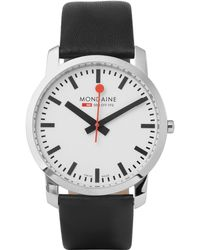Mondaine - Simply Elegant Stainless Steel And Leather Watch - Lyst
