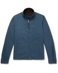 Sandro - Reversible Leather-trimmed Stretch Cotton-blend Blouson Jacket - Lyst