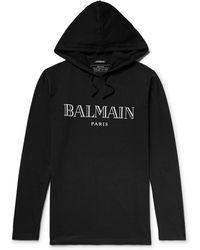 Balmain | Printed Cotton-jersey Hoodie | Lyst