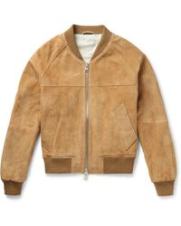 AMI - Suede Bomber Jacket - Lyst