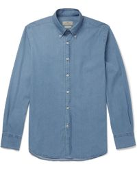 Canali - Button-down Collar Stretch-cotton Chambray Shirt - Lyst