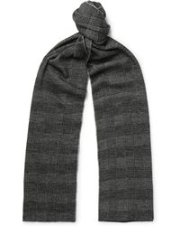 Brioni - Checked Virgin Wool And Silk-blend Scarf - Lyst