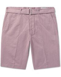 Officine Generale - Julian Slub Cotton And Linen-blend Shorts - Lyst
