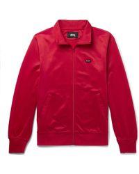 Stussy - Striped Satin-jersey Track Jacket - Lyst