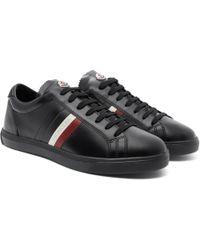 Moncler - La Monaco Striped Leather Trainers - Lyst