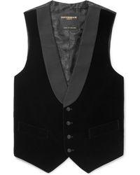 Favourbrook - Black Slim-fit Grosgrain-trimmed Cotton-velvet Waistcoat - Lyst