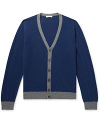 Boglioli - Two-tone Wool And Cashmere-blend Cardigan - Lyst