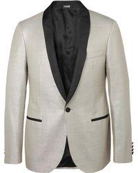 Lanvin - Silver Faille-trimmed Wool-blend Tuxedo Jacket - Lyst