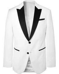 BOSS - White Helward Slim-fit Satin-trimmed Cotton-velvet Tuxedo Jacket - Lyst