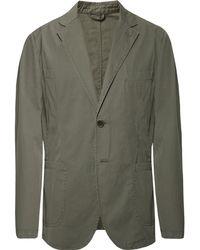 Aspesi - Grey-green Slim-fit Unstructured Cotton-poplin Blazer - Lyst