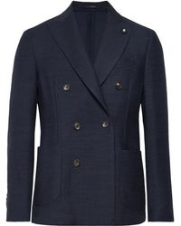 Lardini - Storm-blue Double-breasted Wool Blazer - Lyst