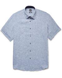BOSS - Lukas Linen Shirt - Lyst