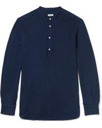 Eidos - Grandad-collar Striped Cotton Shirt - Lyst