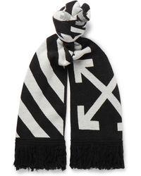 Off-White c/o Virgil Abloh - Logo-intarsia Fringed Wool Scarf - Lyst