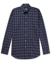 Peter Millar Reigns Button-down Collar Checked Cotton Shirt - Blue