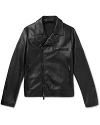 Giorgio Armani - Slim-fit Leather Blouson Jacket - Lyst