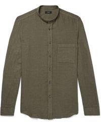 Theory - Kier Grandad-collar Linen Shirt - Lyst