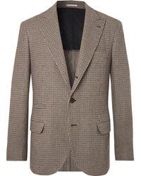 Brunello Cucinelli - Brown Alessio Houndstooth Wool And Cashmere-blend Blazer - Lyst