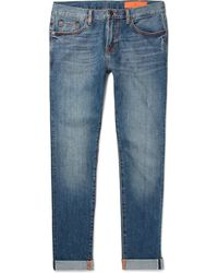 Jean Shop - Kip Slim-fit Tapered Distressed Selvedge Denim Jeans - Lyst