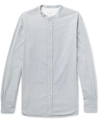 Officine Generale Gaspard Grandad-collar Striped Cotton-dobby Shirt - Gray