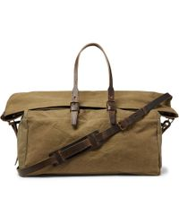 Bleu De Chauffe - Cabine Leather-trimmed Stonewashed Cotton-canvas Holdall - Lyst
