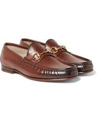 Gucci - Roos Horsebit Burnished-leather Loafers - Lyst