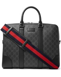 21d26deb757c Gucci - Leather-trimmed Monogrammed Coated-canvas Briefcase - Lyst