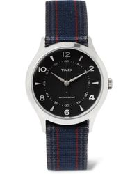 Timex - Whitney Village Stainless Steel And Striped Grosgrain Watch - Lyst