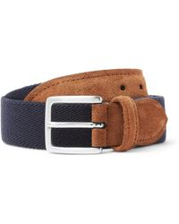 Andersons - 3.5cm Suede-trimmed Canvas Belt - Lyst