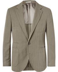 Brunello Cucinelli - Slim-fit Herringbone Cotton And Linen-blend Suit Jacket - Lyst