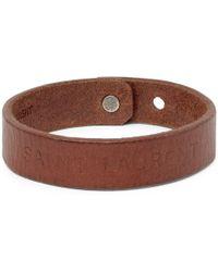 Saint Laurent - Embossed Leather Bracelet - Lyst