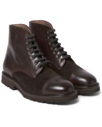 Brunello Cucinelli - Cashmere Lace-up Leather Boots - Lyst